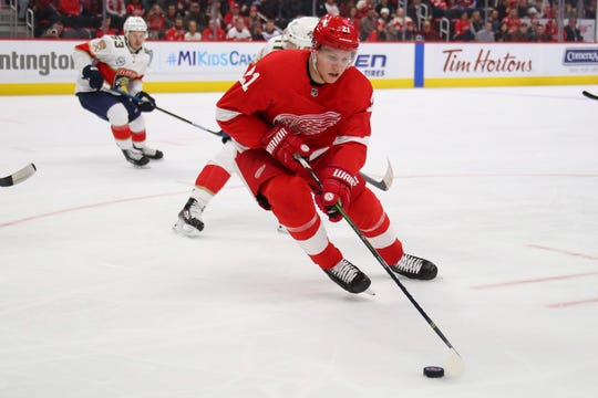 Red Wings Dennis Cholowski continues to impress in his rookie season.