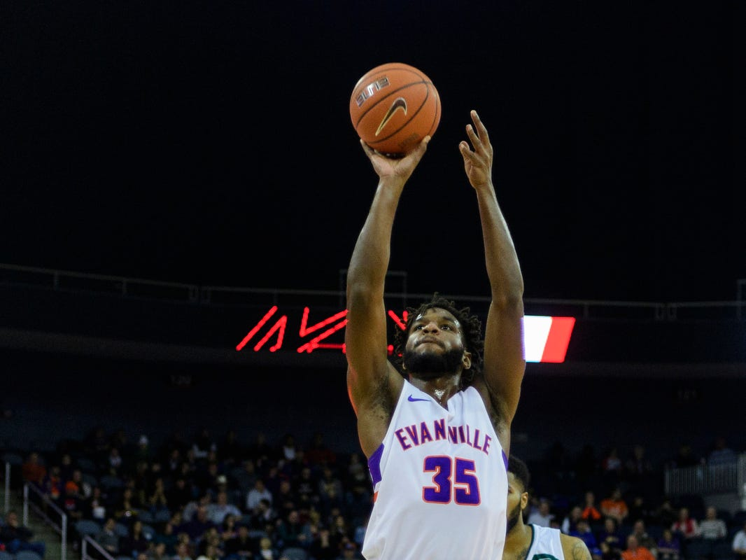 University of Evansville's John Hall (35) makes a free-throw against the University of Wisconsin-Green Bay Phoenix in the first half at Ford Center in Evansville, Ind., Saturday, Dec. 22, 2018.