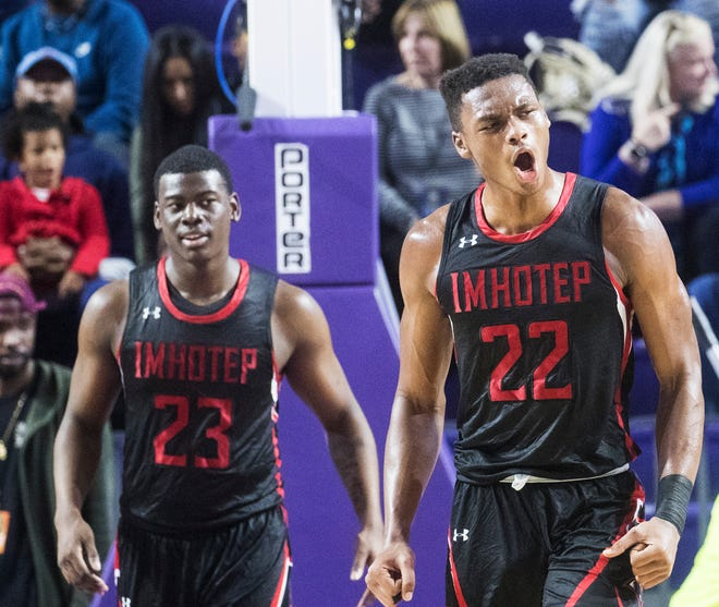 Elijah Taylor from Imhotep Charter reacts on a good play his beats Oak Hill Academy in one of the semi final games at the City of Palms Classic on Friday. The score was 70-60