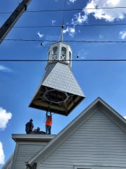 I covered a big day for my little hometown of Alva: the replacement of the Methodist church's Irma-toppled steeple.