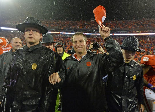 Clemson head coach Dabo Swinney celebrates after the Tigers 24-22 win over Notre Dame Saturday, October 3, 2015 at Clemson's Memorial Stadium.