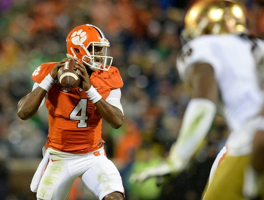 Clemson quarterback Deshaun Watson (4) during the 1st quarter Saturday, October 3, 2015 at Clemson's Memorial Stadium.