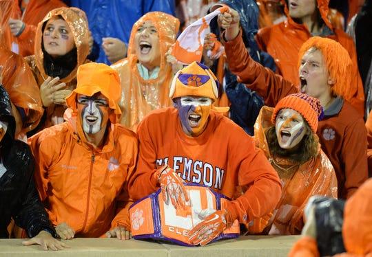 Clemson fans cheer during pre-game Saturday, October 3, 2015 at Clemson's Memorial Stadium.