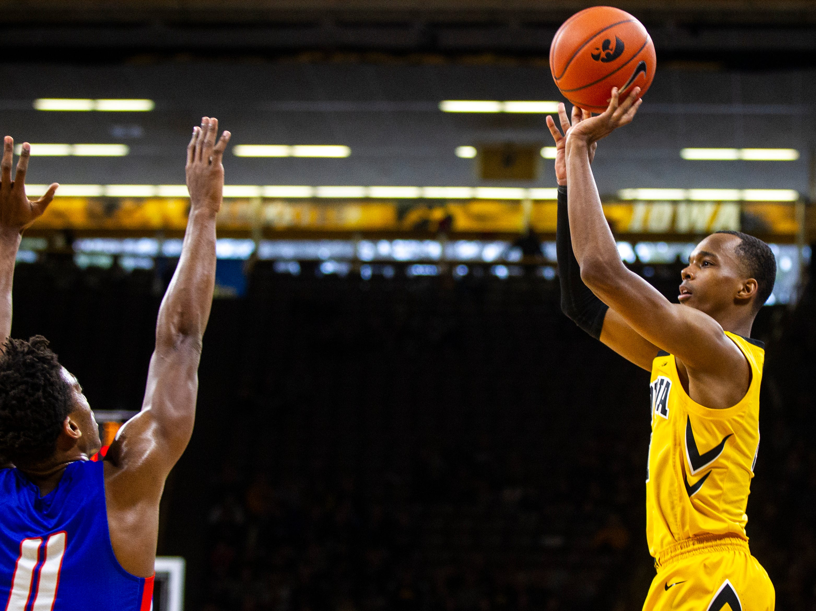 Iowa guard Maishe Dailey (1) attempts a 3-point basket during a NCAA men's basketball game on Saturday, Dec. 22, 2018, at Carver-Hawkeye Arena in Iowa City.