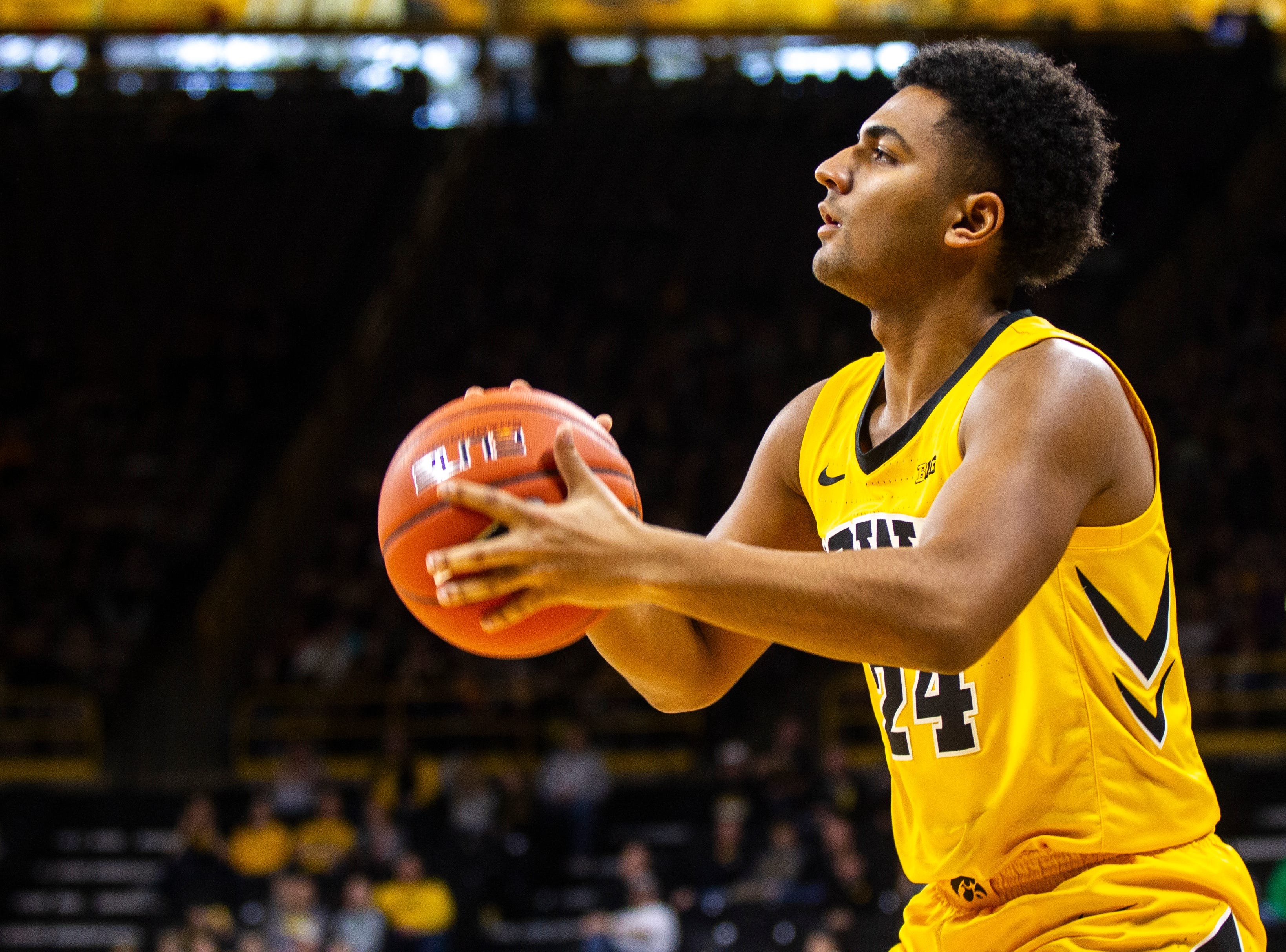 Iowa guard Nicolas Hobbs (24) attempts a basket during a NCAA men's basketball game on Saturday, Dec. 22, 2018, at Carver-Hawkeye Arena in Iowa City.