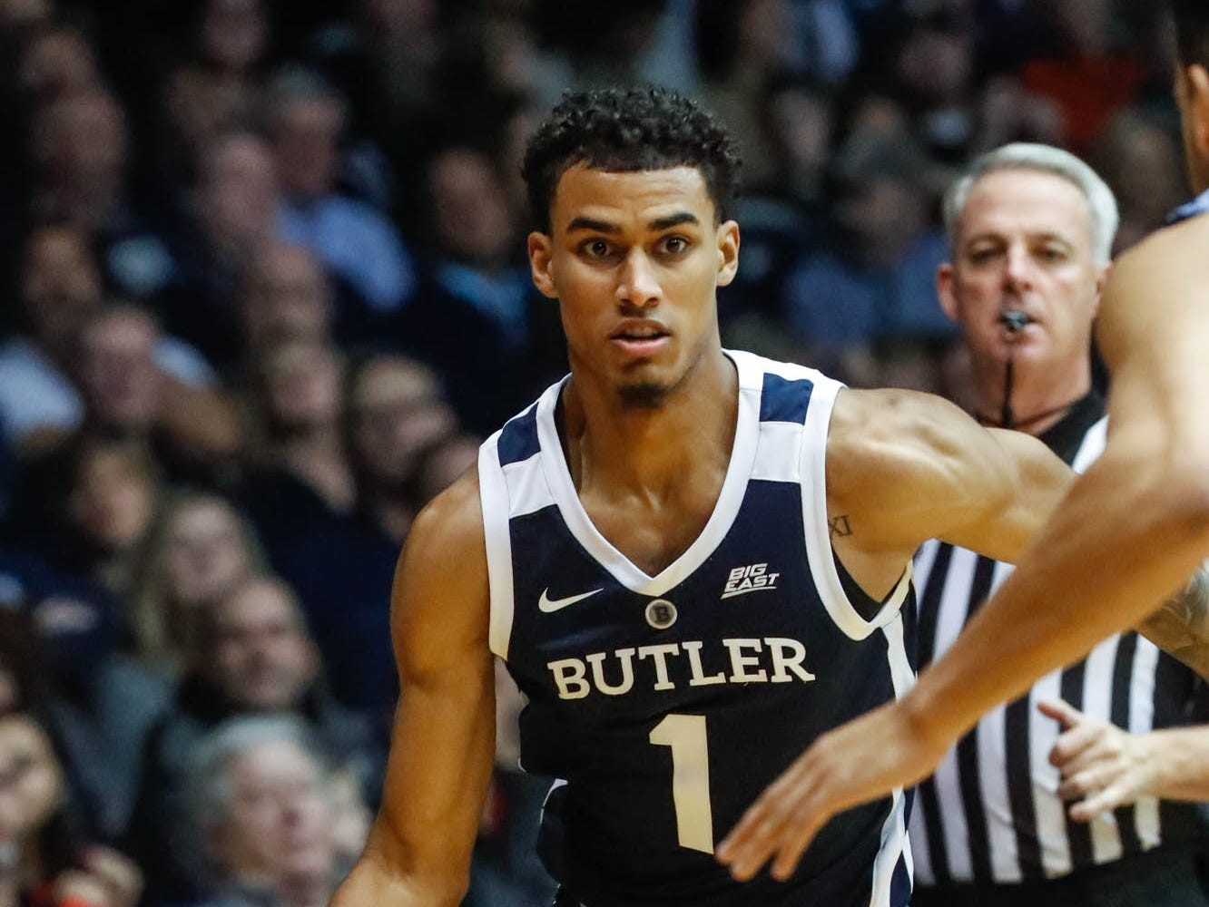 Butler University's forward Jordan Tucker (1), drives to the hoop, during a game between Butler University and UC Irvine, at Hinkle Fieldhouse on Friday, Dec. 21, 2018.