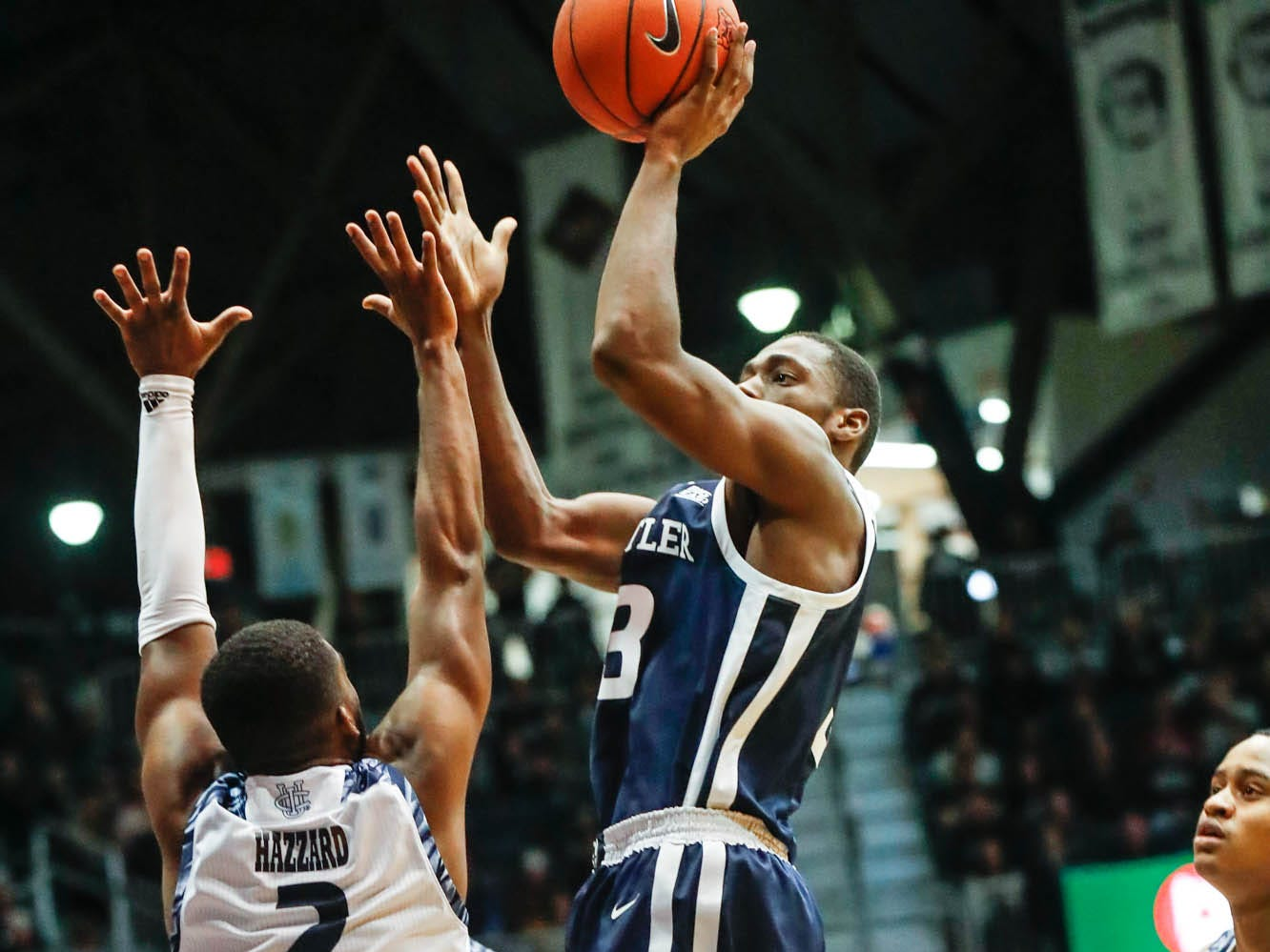 Butler University's guard Kamar Baldwin (3) shoots the ball over UC Irvines's guard Max Hazzard (2), during a game between Butler University and UC Irvine, at Hinkle Fieldhouse on Friday, Dec. 21, 2018.