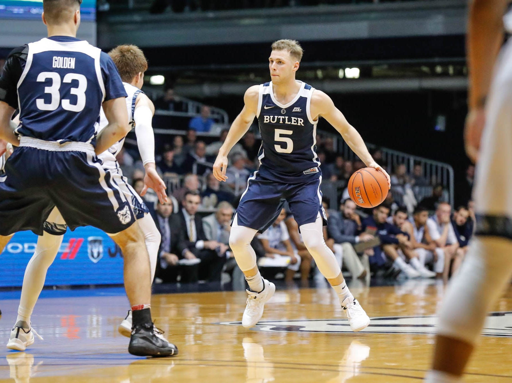 Butler University's guard Paul Jorgensen (5) runs a play  during a game between Butler University and UC Irvine, at Hinkle Fieldhouse on Friday, Dec. 21, 2018.