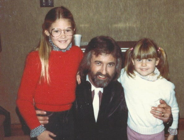 Author Ginger Rough, her sister Kristen Hellmer, with The Oak Ridge Boys lead singer Duane Allen in Merrillville, Indiana in 1983.