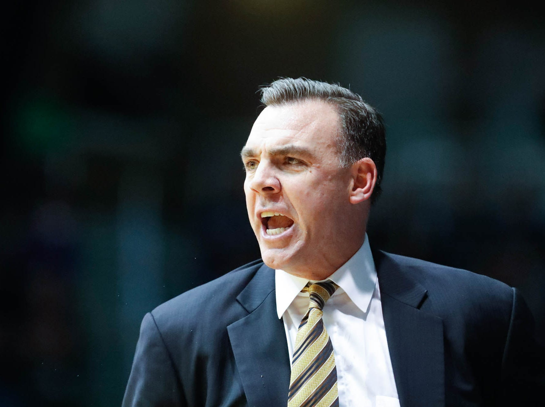 UC Irvine's Head Coach, Russell Turner, reacts to a call during a game between Butler University and UC Irvine, at Hinkle Fieldhouse on Friday, Dec. 21, 2018.