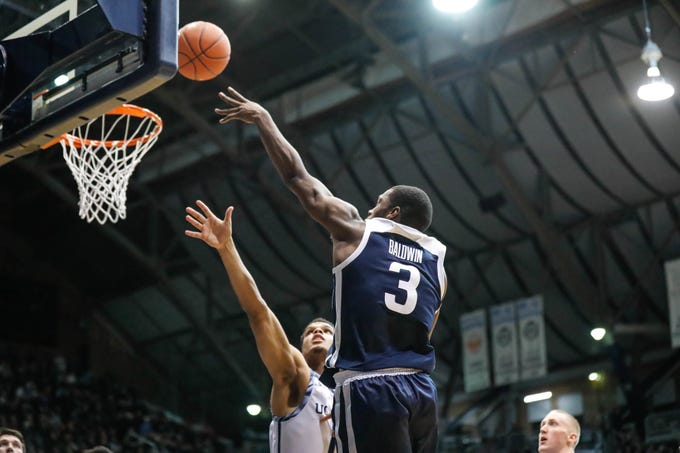 Butler University's guard Kamar Baldwin (3) shoots a layup during a game between Butler University and UC Irvine, at Hinkle Fieldhouse on Friday, Dec. 21, 2018.