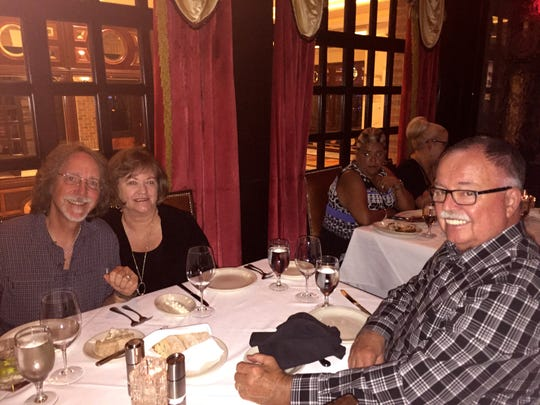 The authors parents, Scott and Holly Richardson, enjoy dinner with Oak Ridge Boys sound engineer Marko Hunt in Nashville in March 2017. Scott passed away unexpectedly a few weeks later.
