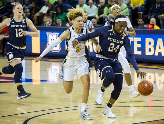 Notre Dame's Arike Ogunbowale, right, is drives to the basket against Marquette's Natisha Hiedeman, left, during the first half of an NCAA women's college basketball game Saturday, Dec. 22, 2018, in Milwaukee.