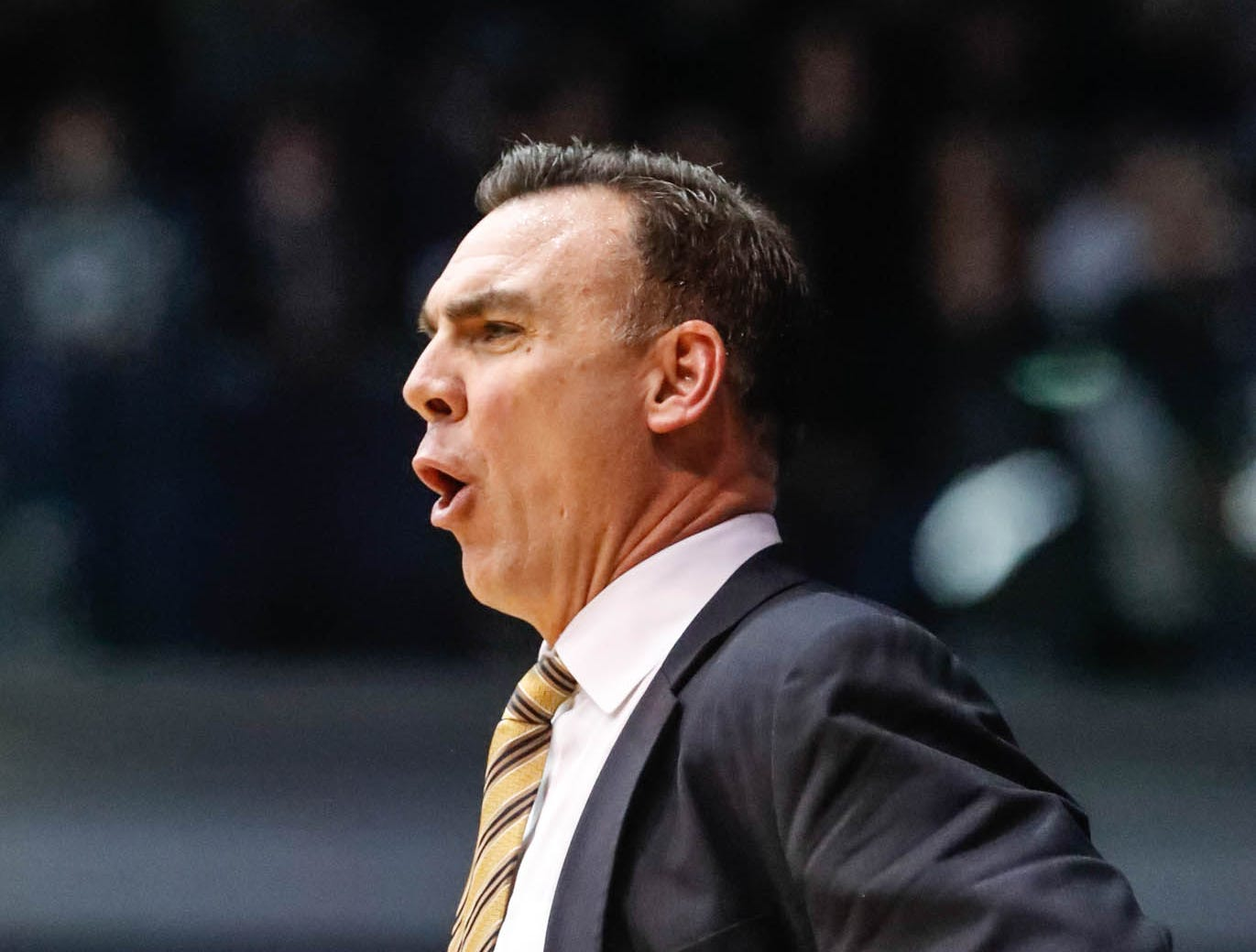 UC Irvine's Head Coach, Russell Turner, reacts to a technical foul during a game between Butler University and UC Irvine, at Hinkle Fieldhouse on Friday, Dec. 21, 2018.