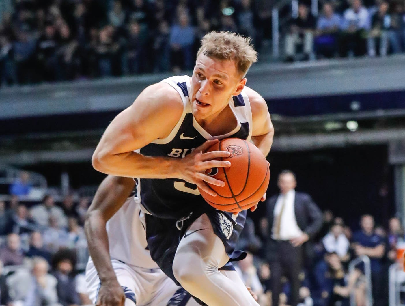 Butler University's guard Paul Jorgensen (5) drives in for a layup during a game between Butler University and UC Irvine, at Hinkle Fieldhouse on Friday, Dec. 21, 2018.