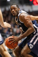 Butler University's guard Kamar Baldwin (3) drives to the hoop during a game between Butler University and UC Irvine, at Hinkle Fieldhouse on Friday, Dec. 21, 2018.
