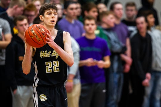 Iowa City West's Patrick McCaffery (22) inbounds a ball during a Class 4A boys basketball game on Friday, Dec. 21, 2018, at Liberty High School in North Liberty.