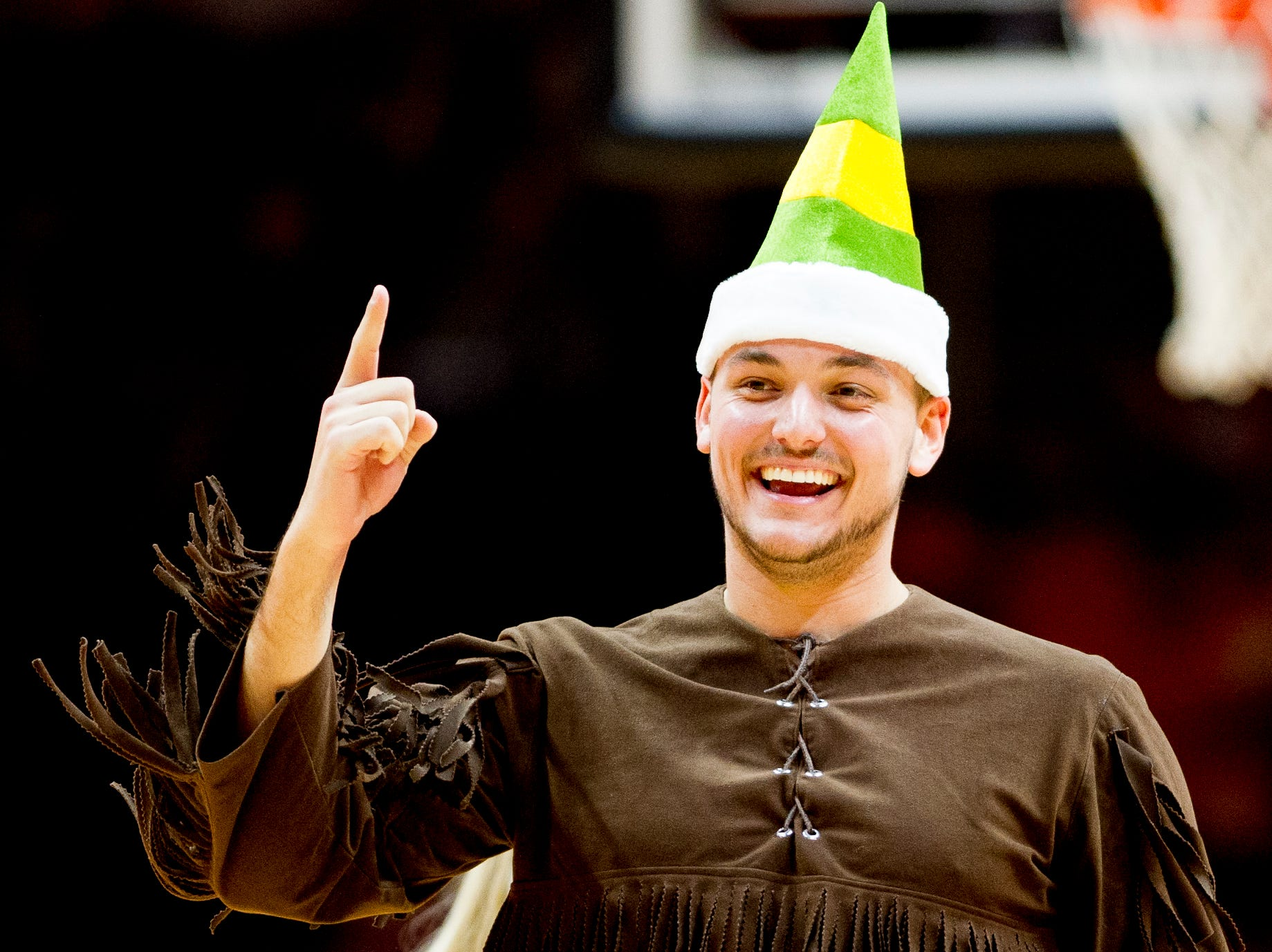 The Volunteer mascot wears an elf hat during a game between Tennessee and Wake Forest at Thompson-Boling Arena in Knoxville, Tennessee on Saturday, December 22, 2018.