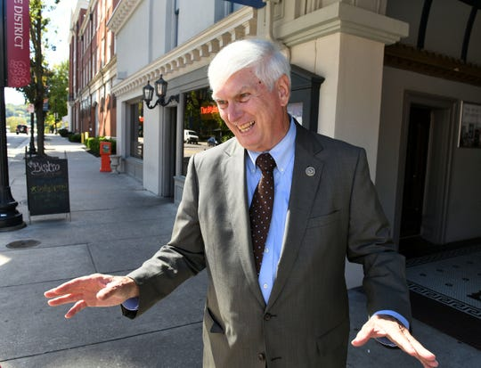 "Retiring Congressman John J. ""Jimmy"" Duncan on Gay Street in Knoxville Friday, Oct. 12, 2018."