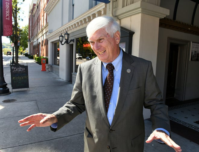 "Retiring Congressman John J. ""Jimmy"" Duncan on Gay Street in Knoxville Friday, Oct. 12, 2018."