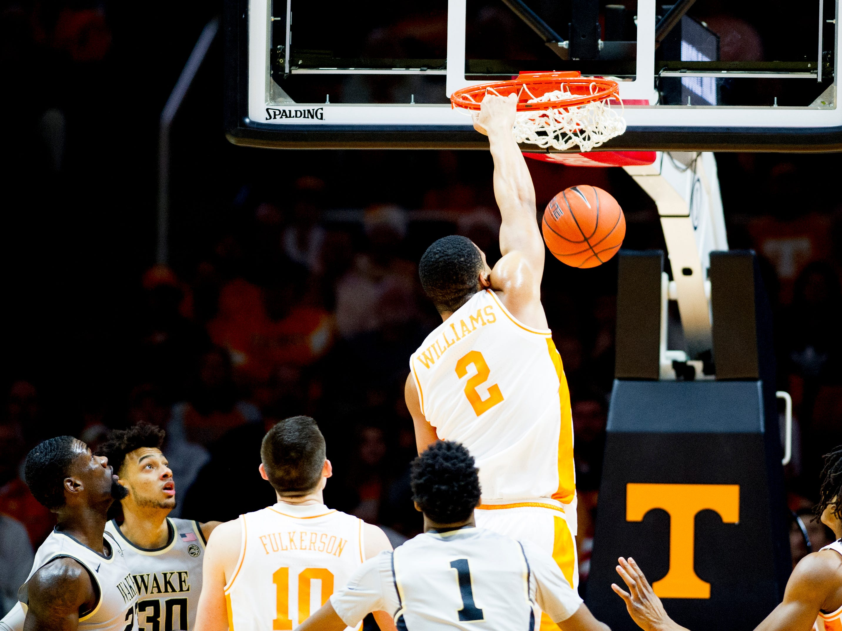 Tennessee forward Grant Williams (2) dunks during a game between Tennessee and Wake Forest at Thompson-Boling Arena in Knoxville, Tennessee on Saturday, December 22, 2018.