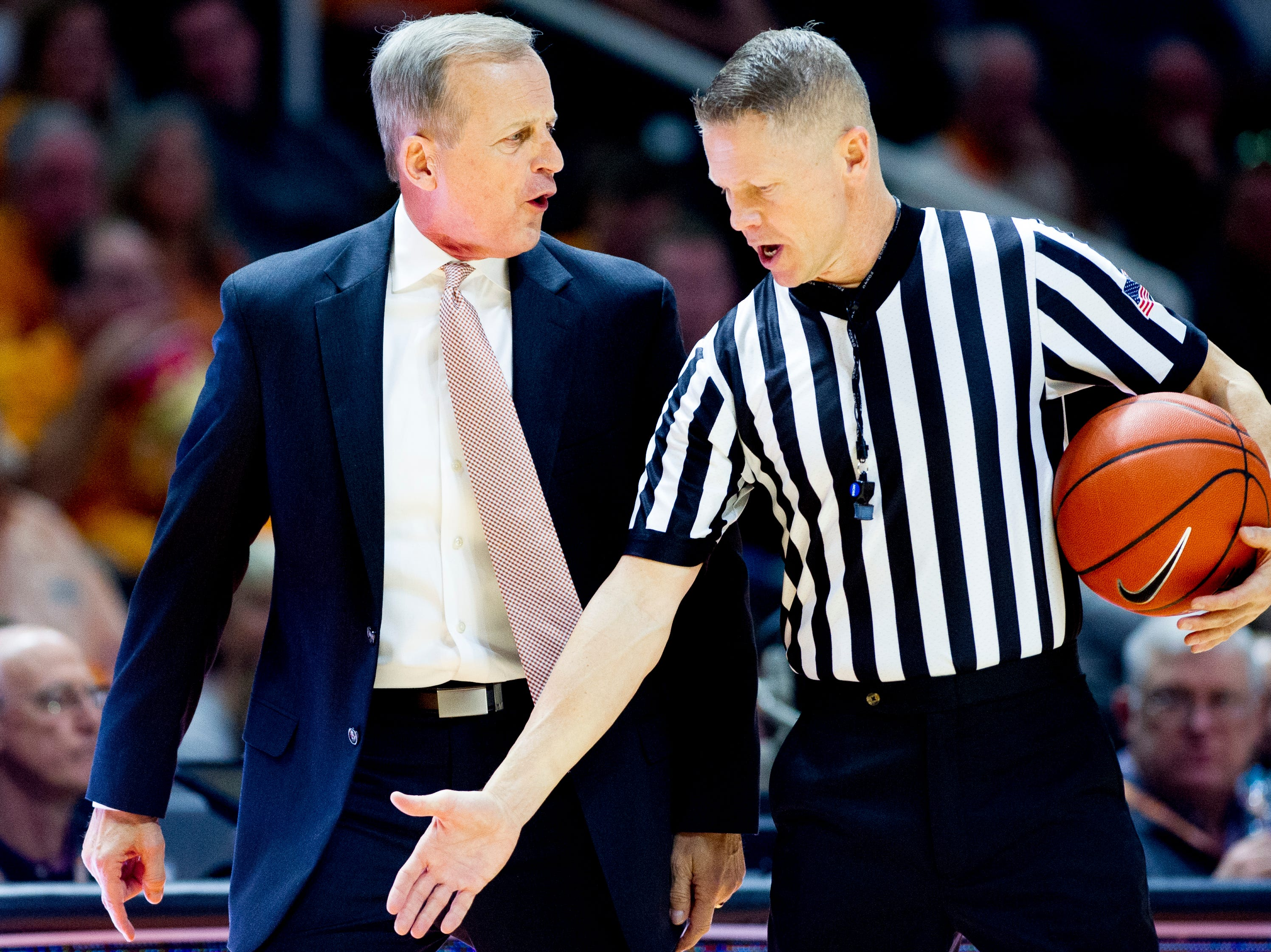 Tennessee Head Coach Rick Barnes argues a call with the referee during a game between Tennessee and Wake Forest at Thompson-Boling Arena in Knoxville, Tennessee on Saturday, December 22, 2018.