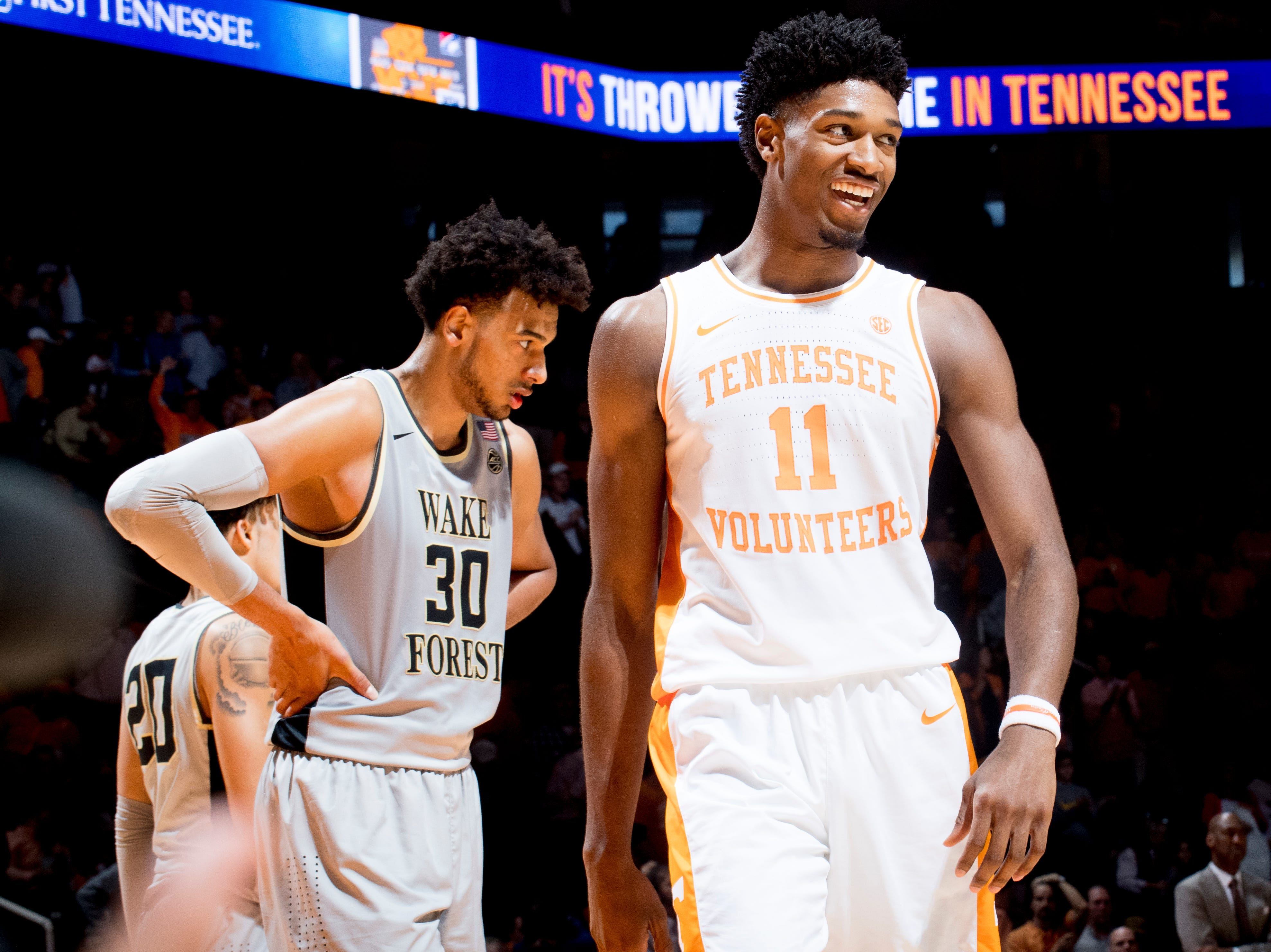 Tennessee forward Kyle Alexander (11) celebrates Tennessee's 83-64 win over Wake Forest at Thompson-Boling Arena in Knoxville, Tennessee on Saturday, December 22, 2018.