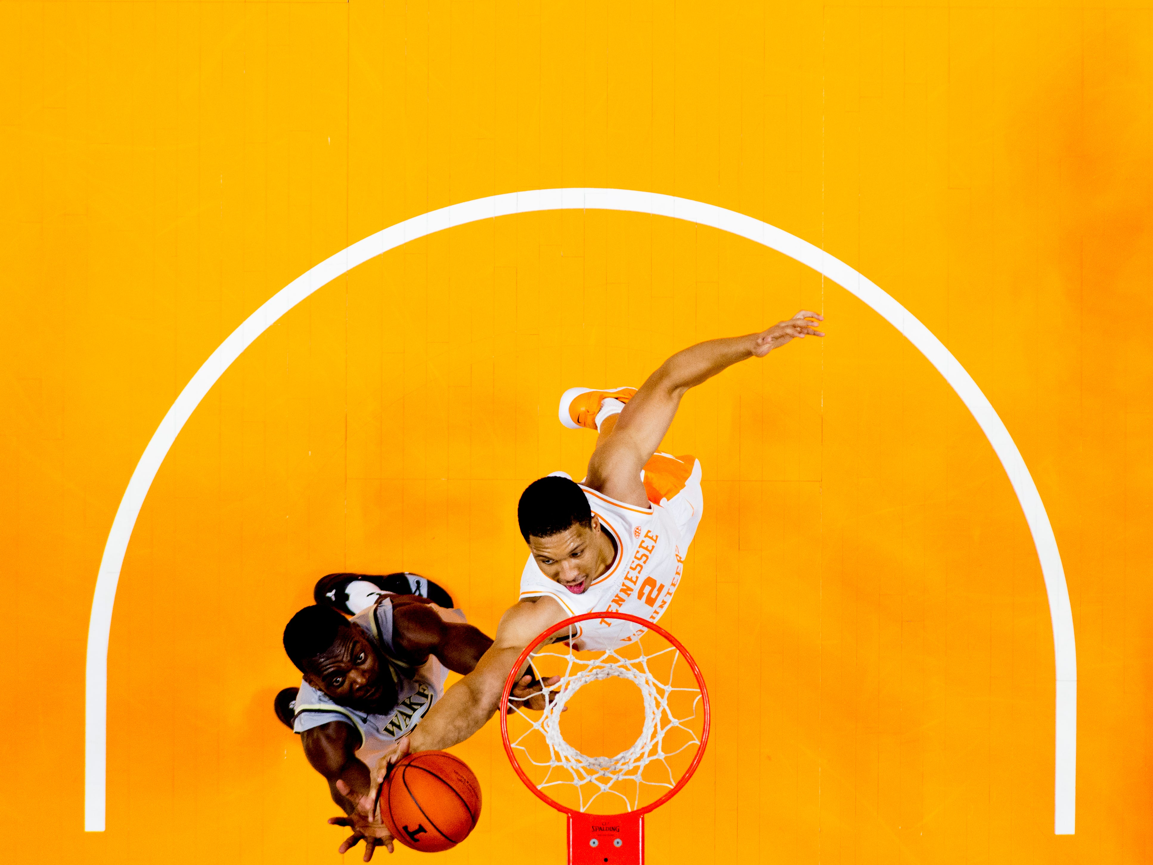 Tennessee forward Grant Williams (2) grabs the ball from Wake Forest forward Ikenna Smart (35) during a game between Tennessee and Wake Forest at Thompson-Boling Arena in Knoxville, Tennessee on Saturday, December 22, 2018.