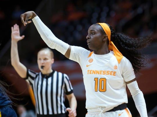 Tennessee's Meme Jackson (10) scores 3-points against ETSU on Friday, December 21, 2018. Jackson was 7 of 12 from the 3-point line.