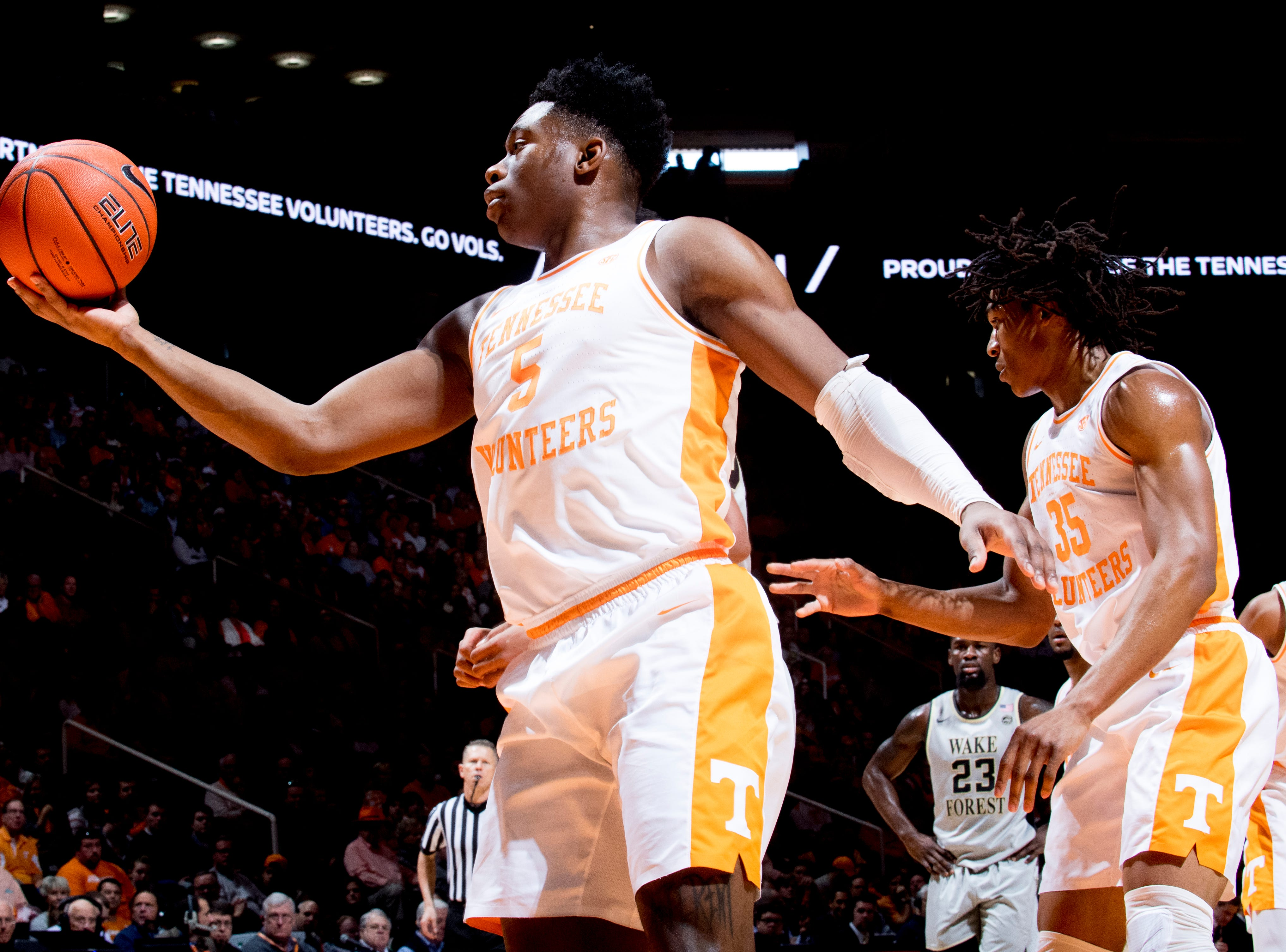 Tennessee guard Admiral Schofield (5) grabs the rebound during a game between Tennessee and Wake Forest at Thompson-Boling Arena in Knoxville, Tennessee on Saturday, December 22, 2018.