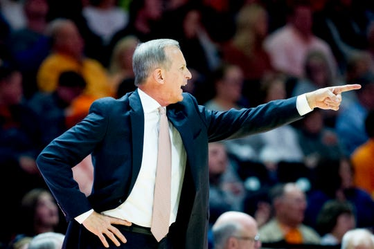Tennessee Head Coach Rick Barnes calls during a game between Tennessee and Wake Forest at Thompson-Boling Arena in Knoxville, Tennessee on Saturday, December 22, 2018.