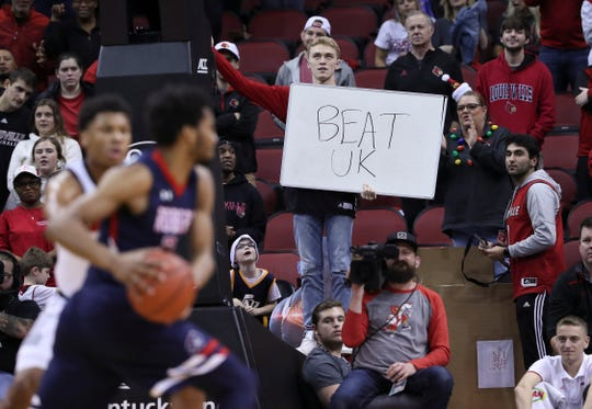 Some Louisville fans started thinking about their next opponent during the closing minutes of their game against Robert Morris during at the Yum Center.  