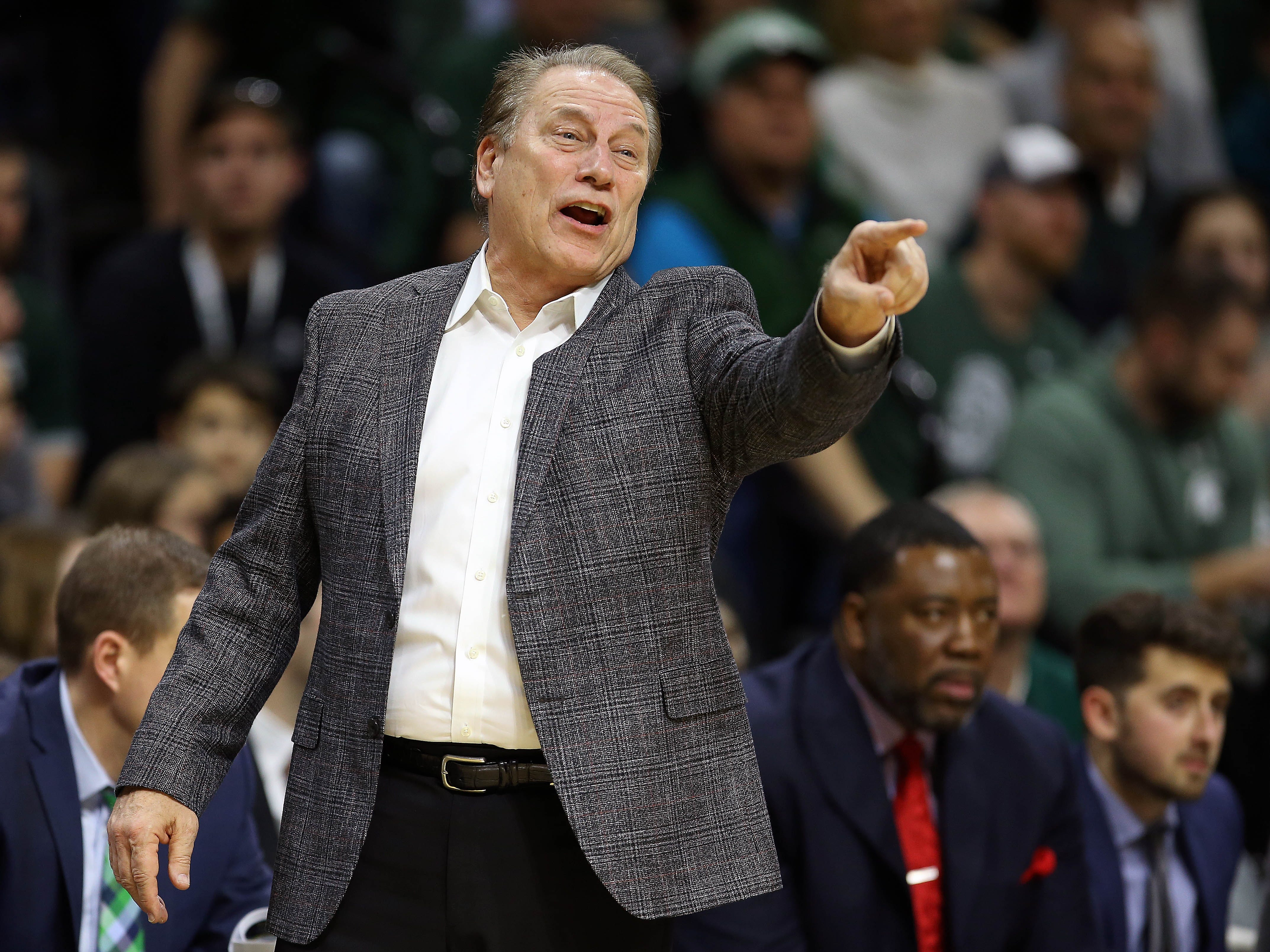 Michigan State Spartans head coach Tom Izzo reacts during the first half of a game against the Oakland Golden Grizzlies at the Breslin Center.