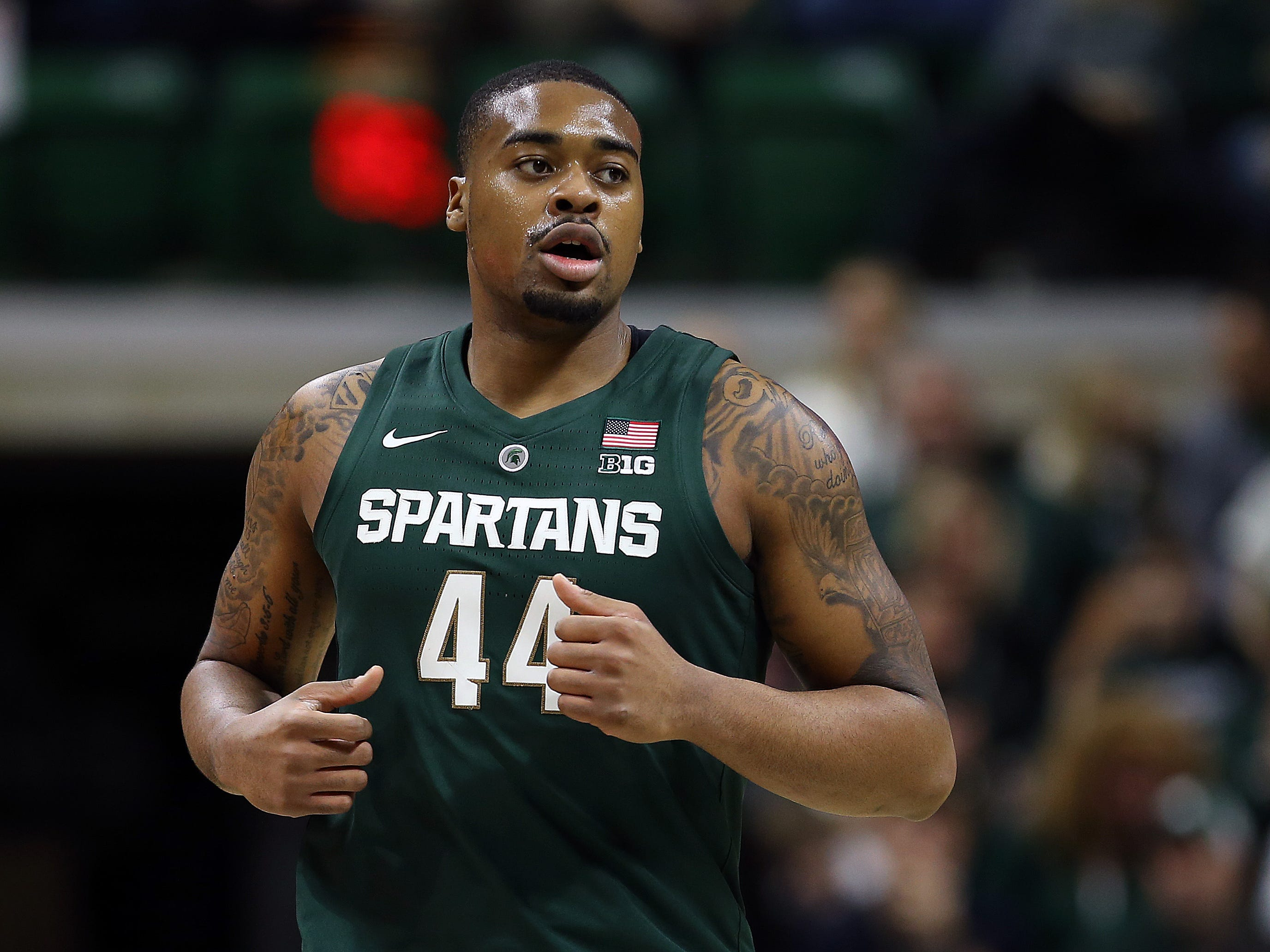 Michigan State Spartans forward Nick Ward (44) runs on the court during the first half of a game against the Michigan State Spartans at the Breslin Center.