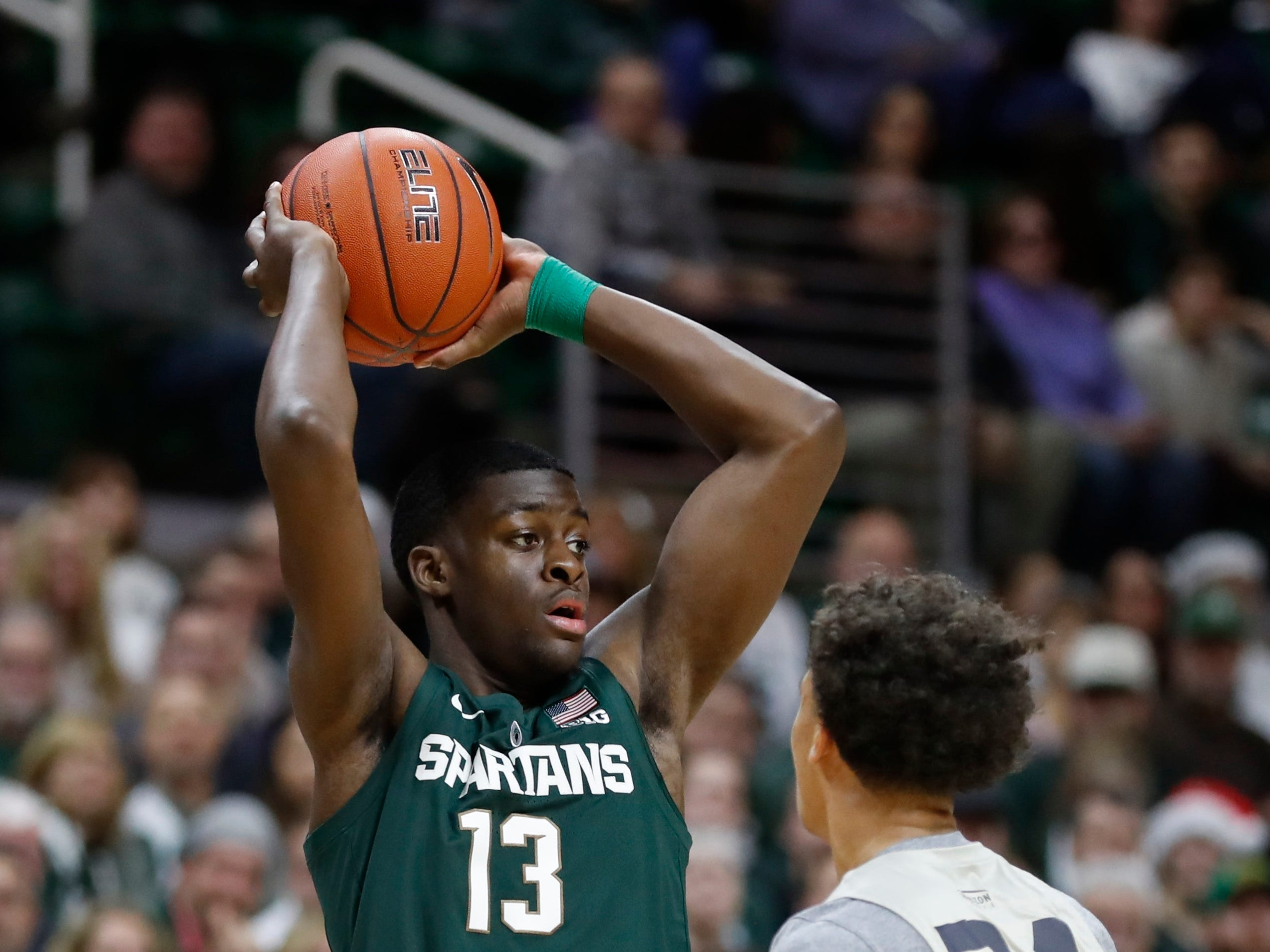 Michigan State forward Gabe Brown looks to pass during the second half of an NCAA college basketball game against Oakland, Friday, Dec. 21, 2018, in East Lansing, Mich.
