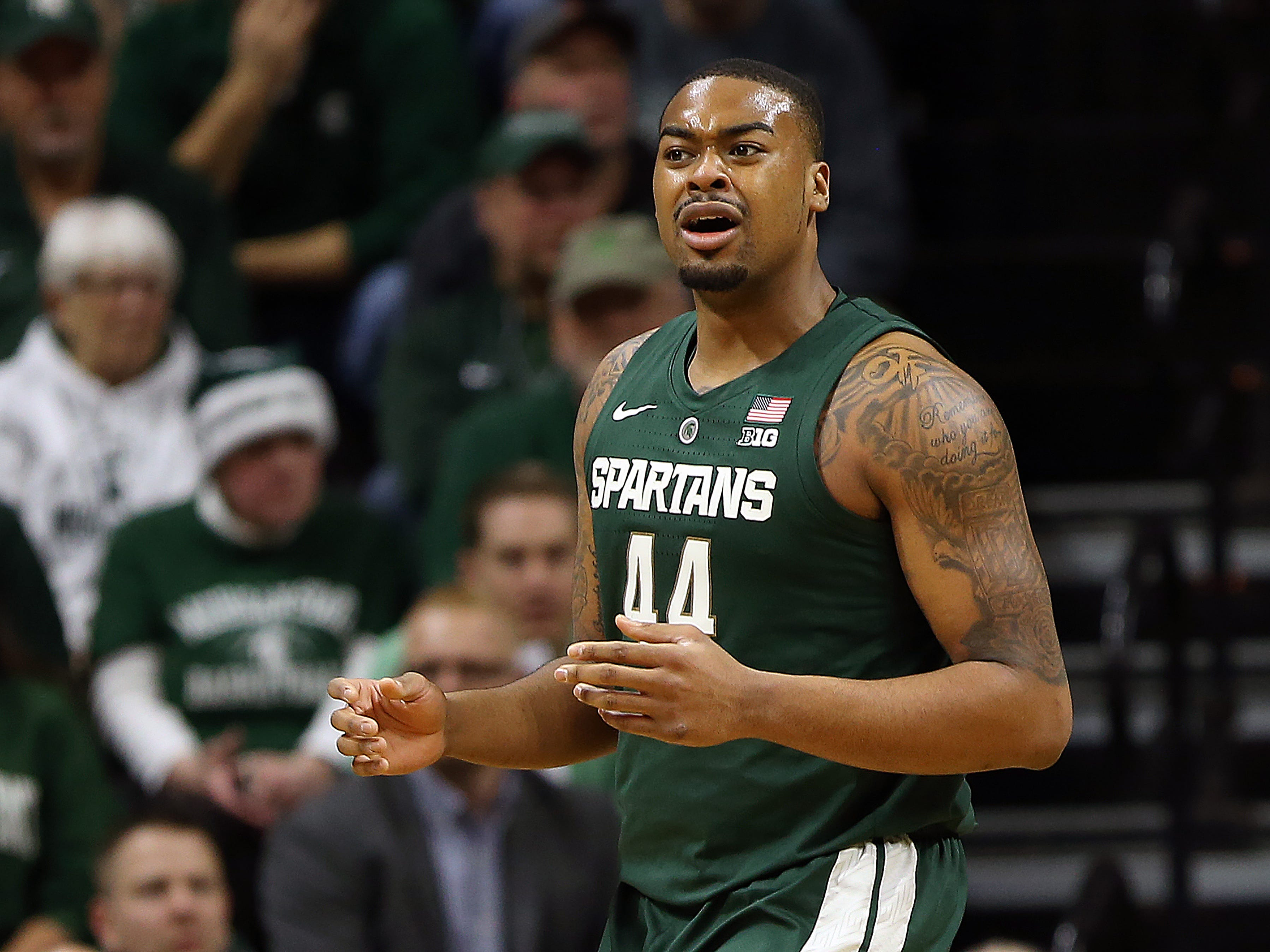 Michigan State Spartans forward Nick Ward (44) reacts during the second half of a game against the Oakland Golden Grizzlies at the Breslin Center.