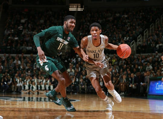 Karmari Newman #10 of the Oakland Golden Grizzlies drives past Aaron Henry #11 of the Michigan State Spartans in the second half at Breslin Center on December 21, 2018 in East Lansing, Michigan.