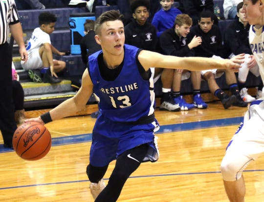 Crestline's Trevor Phillips dribbles the ball down the court while playing at St. Peters on Friday.