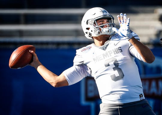 Memphis quarterback Brady White during pre-game warm-ups before taking on Wake Forest in the Birmingham Bowl football game Saturday, December 21, 2018 in Birmingham.