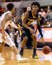 Auburn guard Bryce Brown (2) defends Murray State guard Ja Morant (12) on Saturday, Dec. 22, 2018, in Auburn, Ala.