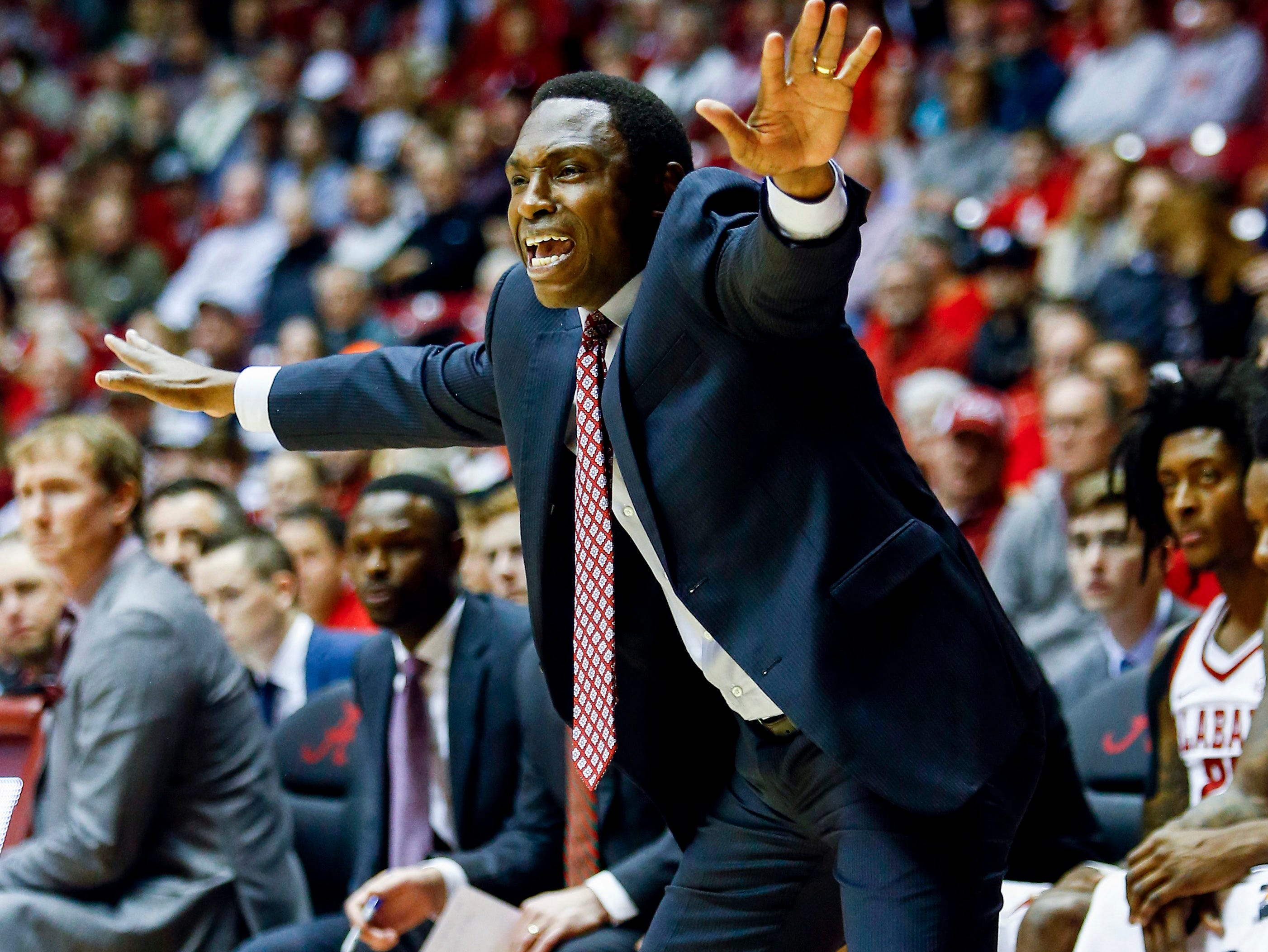 Dec 21, 2018; Tuscaloosa, AL, USA; Alabama Crimson Tide head coach Avery Johnson calls out to players during the first half of an NCAA college basketball game against the Penn State Nittany Lions at Coleman Coliseum. Mandatory Credit: Butch Dill-USA TODAY Sports