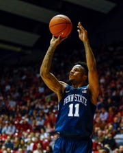 Dec 21, 2018; Tuscaloosa, AL, USA; Penn State Nittany Lions forward Lamar Stevens (11) shoots the ball against the Alabama Crimson Tide during the first half of an at Coleman Coliseum. Mandatory Credit: Butch Dill-USA TODAY Sports