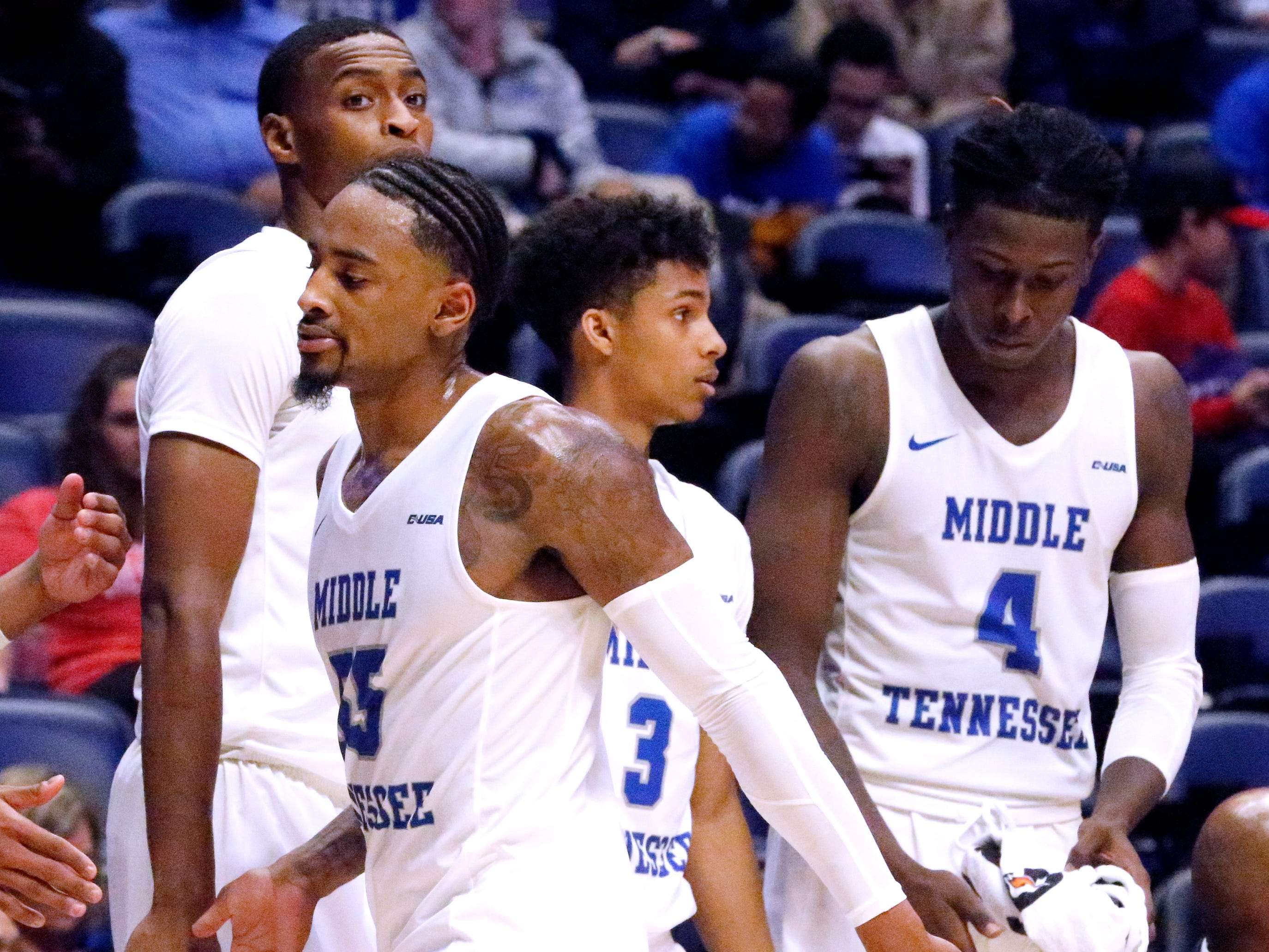 MTSU's guard Antonio Green (55) comes out of the game against Ole Miss on Friday Dec. 21, 2018, at Bridgestone Arena.