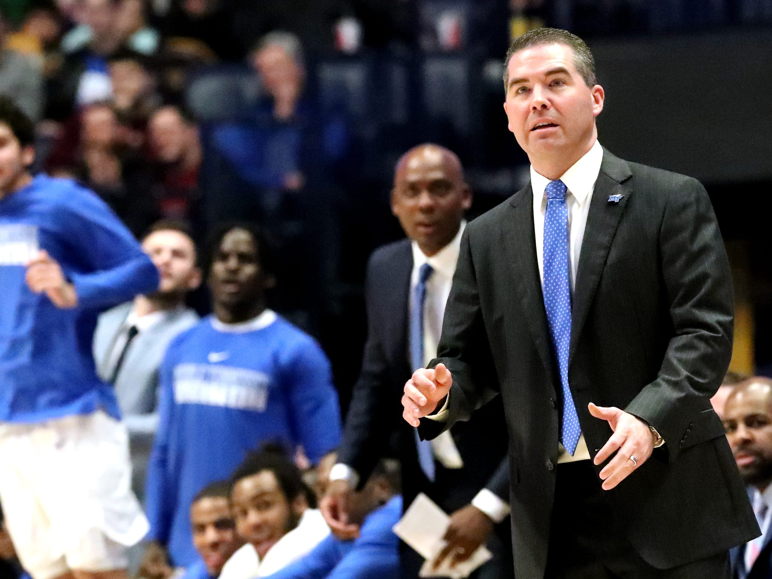 MTSU's head coach Nick McDevitt on the sidelines during the game against Ole Miss on Friday Dec. 21, 2018, at Bridgestone Arena.
