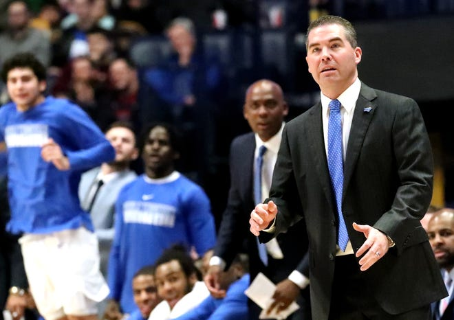 MTSU head coach Nick McDevitt watches a play on the sidelines during the Blue Raiders' loss against Ole Miss on Friday Dec. 21, 2018, at Bridgestone Arena. MTSU has lost 11 in a row heading into the game against Southern Mississippi on Thursday.