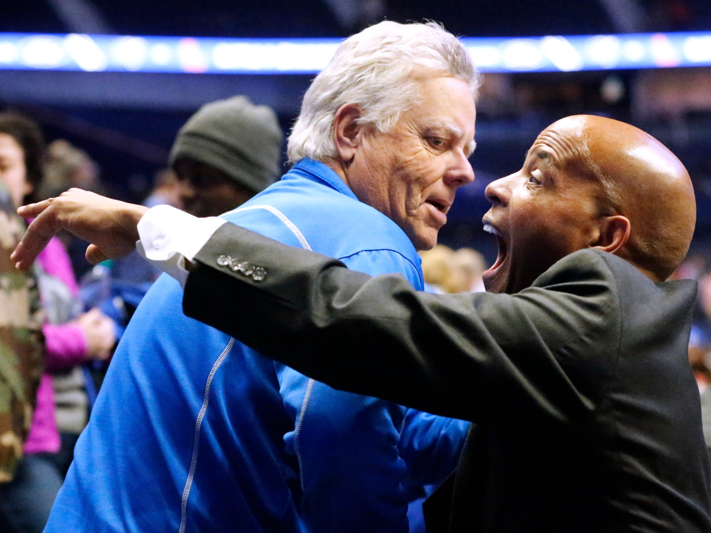 Ole Miss assistant coach Win Case and former MTSU assistant coach meets with the MTSU fans after the game between the two schools, on Friday Dec. 21, 2018, at Bridgestone Arena.