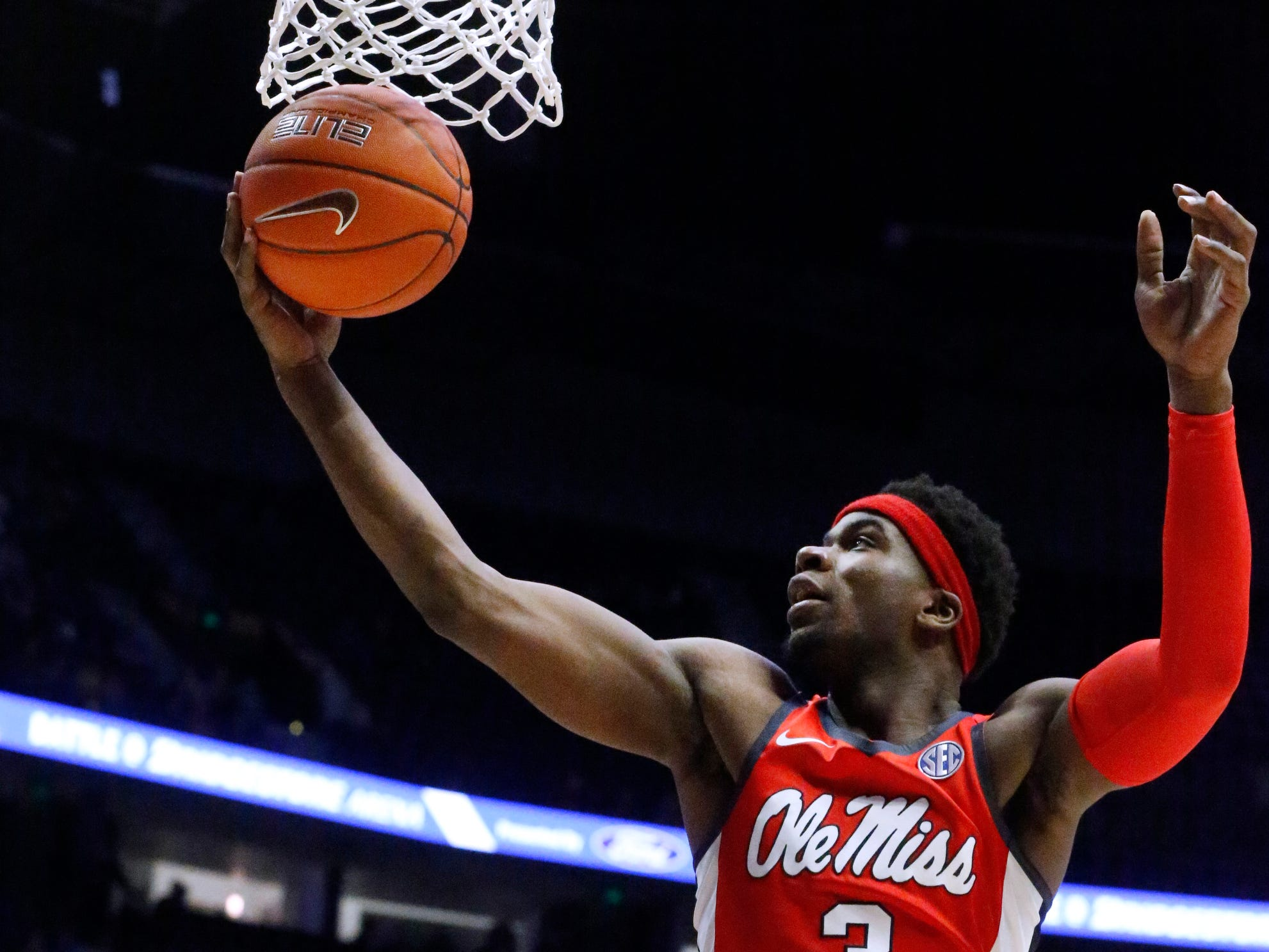 Ole Miss' guard Terence Davis (3) grabs a rebound during the game against MTSU on Friday Dec. 21, 2018, at Bridgestone Arena.