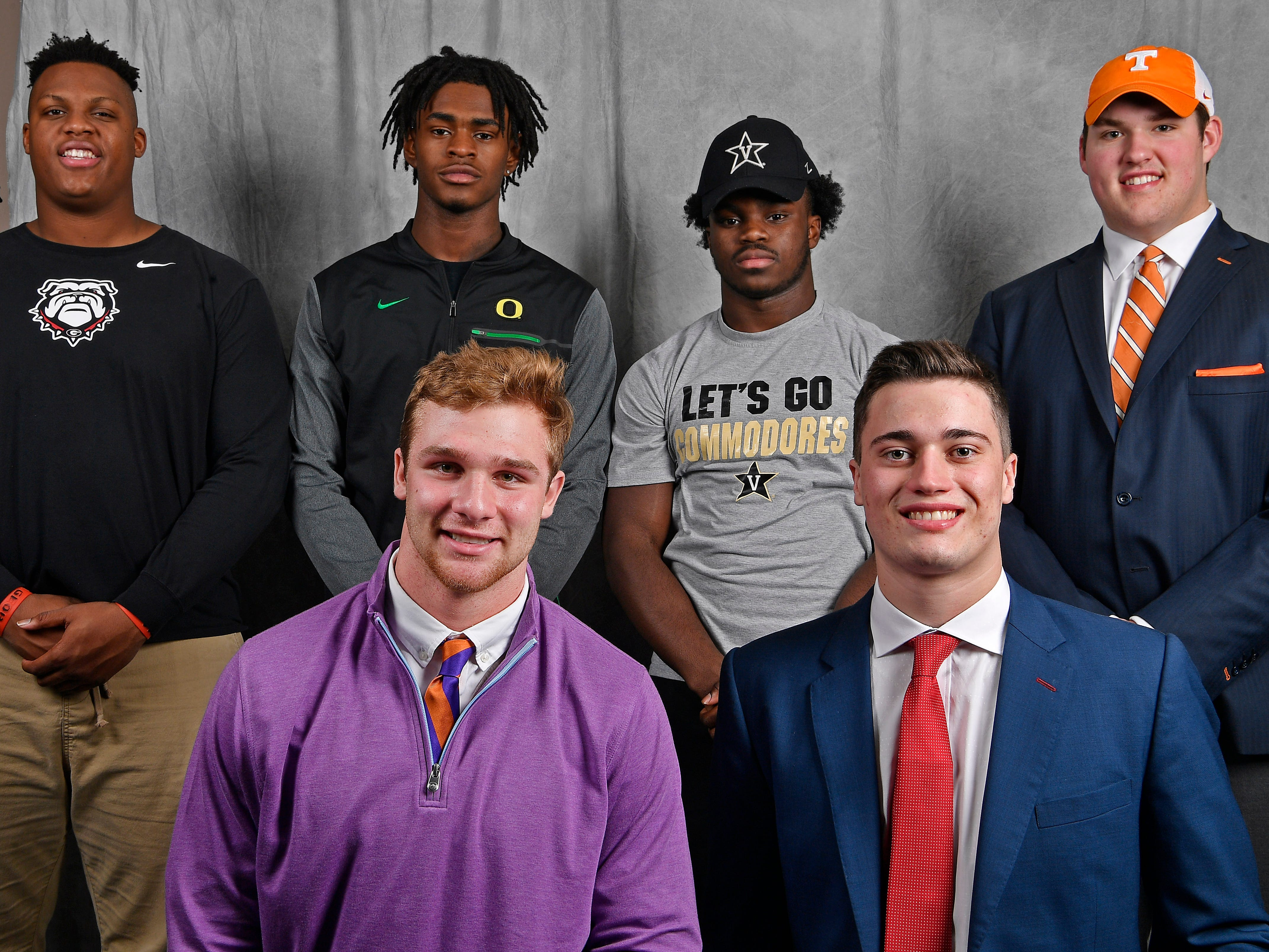 Members of the Tennessean's Dandy Dozen include (in front from left): CPA's Kane Patterson and MBA's Jackson Hannah. In the back, from left, are FRA's Tymon Mitchell, FRA's Lance Wilhoite, Pearl-Cohn's Jayden Harris and MBA's Jackson Lampley. The six athletes were all part of the Tennessean's Bootleg: Signing day show.