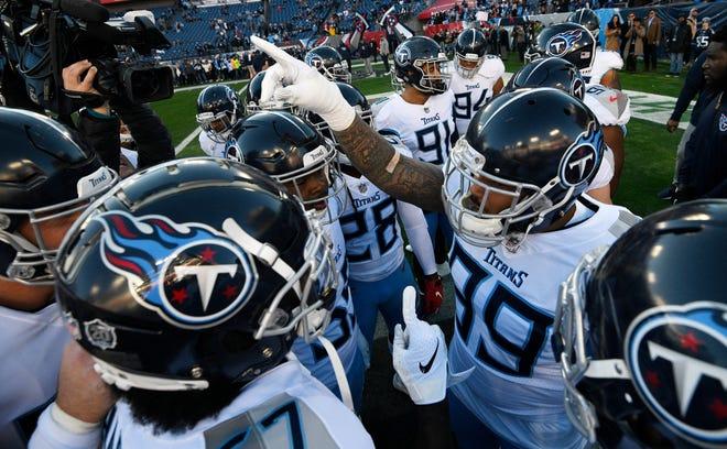 Titans huddle before the game at Nissan Stadium Saturday, Dec. 22, 2018, in Nashville, Tenn.