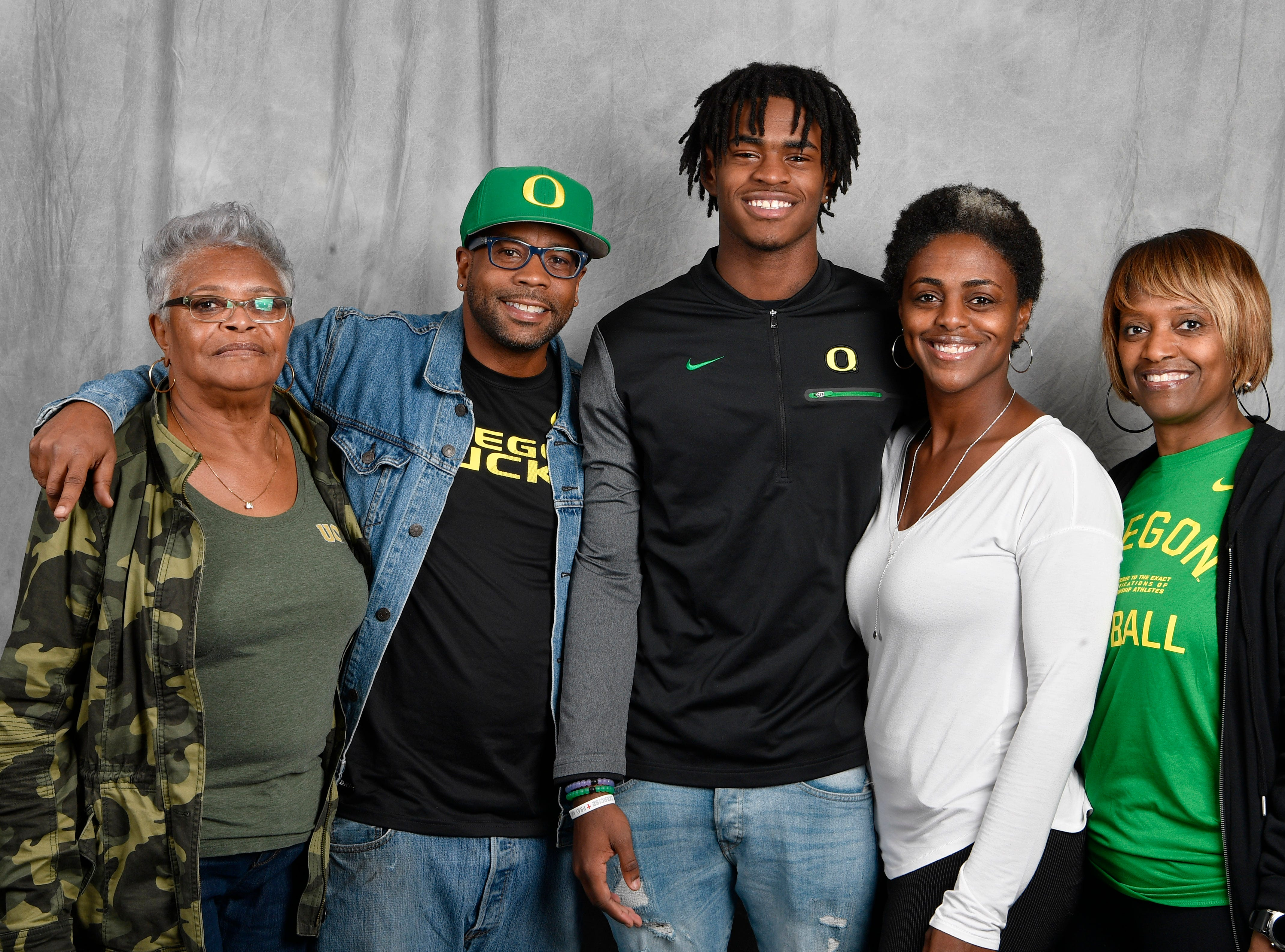 FRA's Lance Wilhoite poses with his family. From left, are Geraldine Fletcher, Larry Wilhoite, Lance Wilhoite, Travonya Wilhoite and Sonya Jakaway. Lance signed with Oregon to play football.